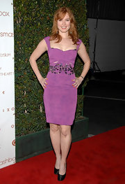 Alicia Witt paired her purple cocktail dress with satin platform pumps.