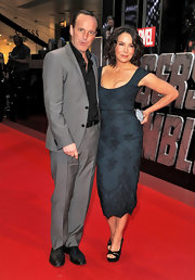 Jennifer Grey looked very classy at the 'Avengers' premiere in a teal lace sheath with cap sleeves and a low neckline.