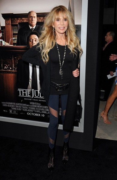 Dyan Cannon finished off her look with black mesh boots.