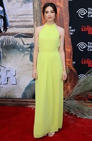 Crystal Reed's bright yellow halter gown at the 'Lone Ranger' premiere was a perfect mix of simple and elegant.