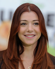 Alyson Hannigan wore her beautiful copper tresses straight and shiny at the premiere of 'The Muppets.'