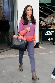 Rochelle Humes covered up her baby bump with a color-blocked crewneck.