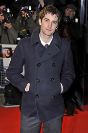 Jim wore a classic pea coat to 'The Way Back' premiere.