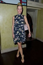 Denise van Outen chose a loose-fitting frock with naturey bird-print on it.