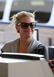 "Ashley is stylish in these overside wayfarer styled ""5153"" sunglasses. They are oversized with a unique shape."