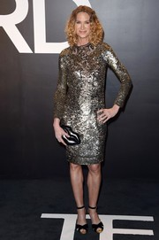 Kelly Lynch shimmered in her sequins-and-mesh dress during the Tom Ford womenswear presentation.