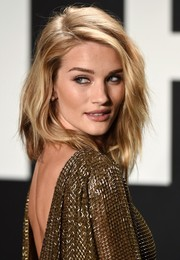 Rosie Huntington-Whiteley sported textured layers for a punk-glam feel at the Tom Ford presentation.