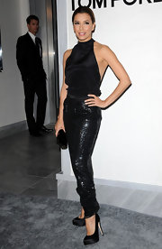 Eva sparkled in sequined harem pants at the Tom Ford store opening in Beverly Hills.