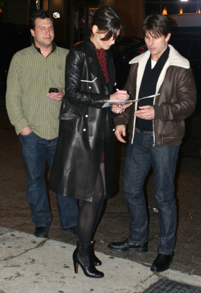 More Pics of Katie Holmes Leather Coat (1 of 3) - Outerwear Lookbook - StyleBistro