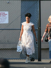 Tracee Ellis Ross looked ladylike in a white lace dress by Simone Rocha during her appearance on 'Kimmel.'