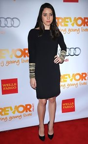Aubrey channeled the '80s in this simple yet ornate black dress for Trevor Live.