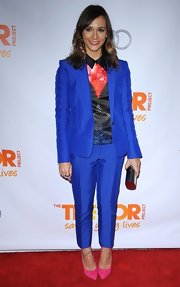 Rashida got suited up in this crisp royal blue suit for Trevor Live 2012.