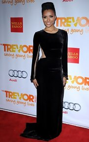 Kat Graham joined the velvet and cutout trend with this dramatic gown at Trevor Live.