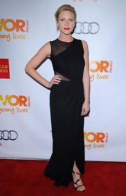 Brittany really brought the glamour in this black draped evening dress featuring on-trend mesh panels.