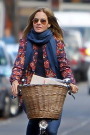 Trinny Woodall added interest to a printed blazer by throwing on an airy scarf.