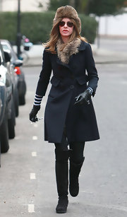 Trinny Woodall stepped out on a chilly day wearing a pair of black suede boots.