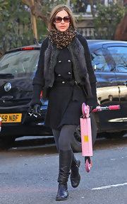 Trinny Woodall completed her warm ensemble with a pair of slouchy black knee-high boots.