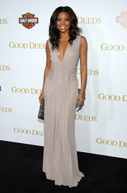 Gabrielle Union attended the premiere of 'Good Deeds' wearing pave bangles in rhodium and 18-carat gold with diamonds.