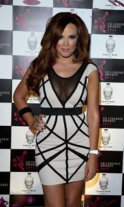 Maria Fowler was oh-so-chic in her geometric-print mesh-panel mini dress at the UK Lingerie Awards.