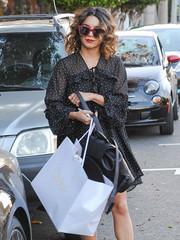 Vanessa Hudgens stepped out for some shopping wearing a pair of red-rimmed shades by Kate Spade.