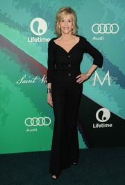 Jane Fonda went for some '70s flair with a pair of black bell-bottoms.