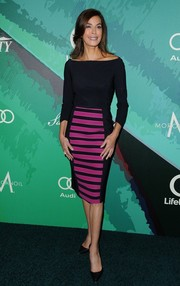 Teri Hatcher donned a modern-chic black and fuchsia off-the-shoulder dress for the Variety Power of Women event.