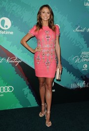 Stacy Keibler added more inches to her long legs with a pair of Stuart Weitzman Nudist sandals.