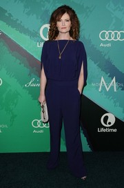 Rebecca Wisocky looked effortlessly chic in a caped navy jumpsuit at the Variety Power of Women event.
