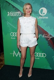 Jessica Capshaw made a cute and trendy choice with this appliqued white crop-top for the Variety Power of Women event.