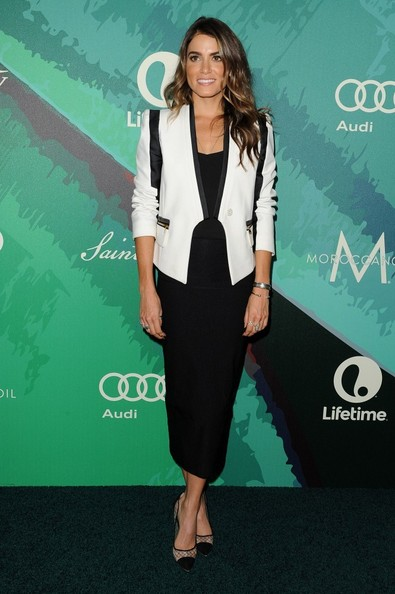 Nikki Reed sealed off her look with mesh cap-toe pumps by Kurt Geiger.