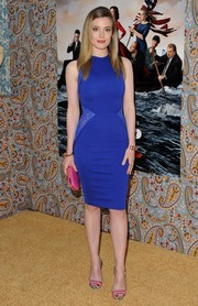 Gillian Jacobs' pink and purple evening sandals provided a nice color contrast to her bright blue dress.