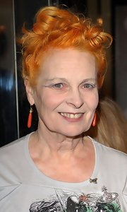 Vivienne Westwood wore her hair in pinned-up ringlets for the Versace store re-launch.