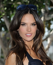 Alessandra accessorized with rose Hammered hoops at Victoria's Secret swim launch.