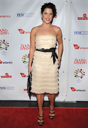 Neve Campbell's ruffled strapless dress was both flirty and feminine at the 'Rock the Kasbah' event in Hollywood.