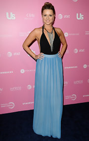 Ali Fedotowsky got creative with her styling at the Hot Hollywood event in this blue pleated maxi-skirt and bodysuit.
