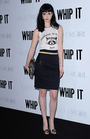 Krysten wears a darling racoon tank with a pencil skirt to the 'Whip It' premiere.