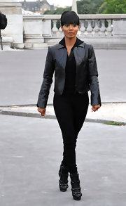 Jada Pinkett Smith paired her leather jacket with black pants and ankle boots.