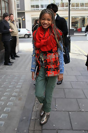 Willow Smith brightened up a gloomy day in London in metallic pewter brogues.