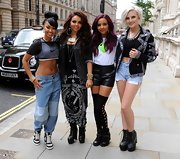 Jade Thirlwall looked oh-so-cute in her textured black leather shorts.