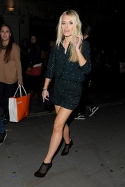 Mollie King finished off her adorable look with dotted black mesh-panel booties by Lucy Choi London.