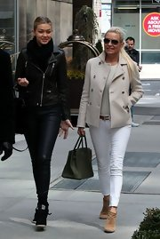 Yolanda Foster kept her look light and bright, especially with this cream pea coat.