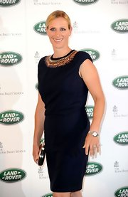Zara Phillips attended the launch of the Royal Ballet in an elegant black dress with a beaded collar.