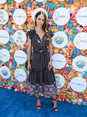 Jordana Brewster kept it ladylike in a printed midi dress by Misa at the We All Play fundraiser.