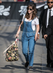 Zooey Deschanel looked super relaxed in denim overalls while headed to 'Jimmy Kimmel.'