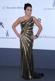 Tamara Ecclestone simply dazzled in a silver and gold one-shoulder beaded dress.