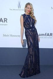 Petra Nemcova sparkled in a royal blue sheer beaded gown.