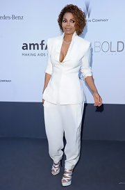 Janet Jackson kept it simple and chic with a two-piece pantsuit.