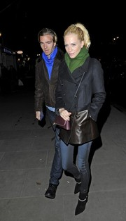 Poppy Delevingne kept warm in edgy style with this mixed-material pea coat at the Coach Presents Skate event.