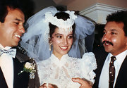 Mezhgan wore a pearl and lace head piece for her first wedding, when she was only 20 years old.