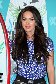Megan Fox wore a cute patterned blouse with a metallic silver skirt at the 2010 Teen Choice Awards.